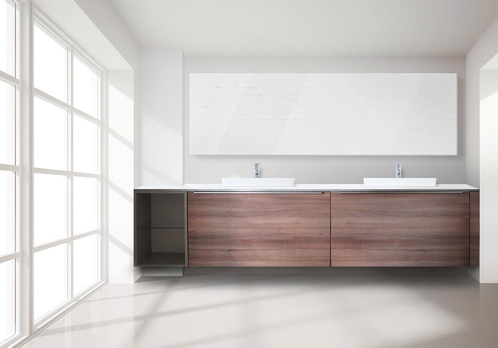 Möbel im Bad Nischenanlage mit Glas im Bad Spiegel