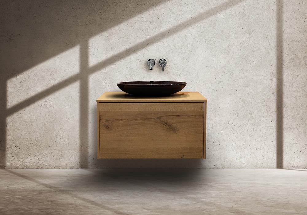 Möbel im Bad Waschtischunterschrank Eiche Antik mit Aufsatzwaschbecken