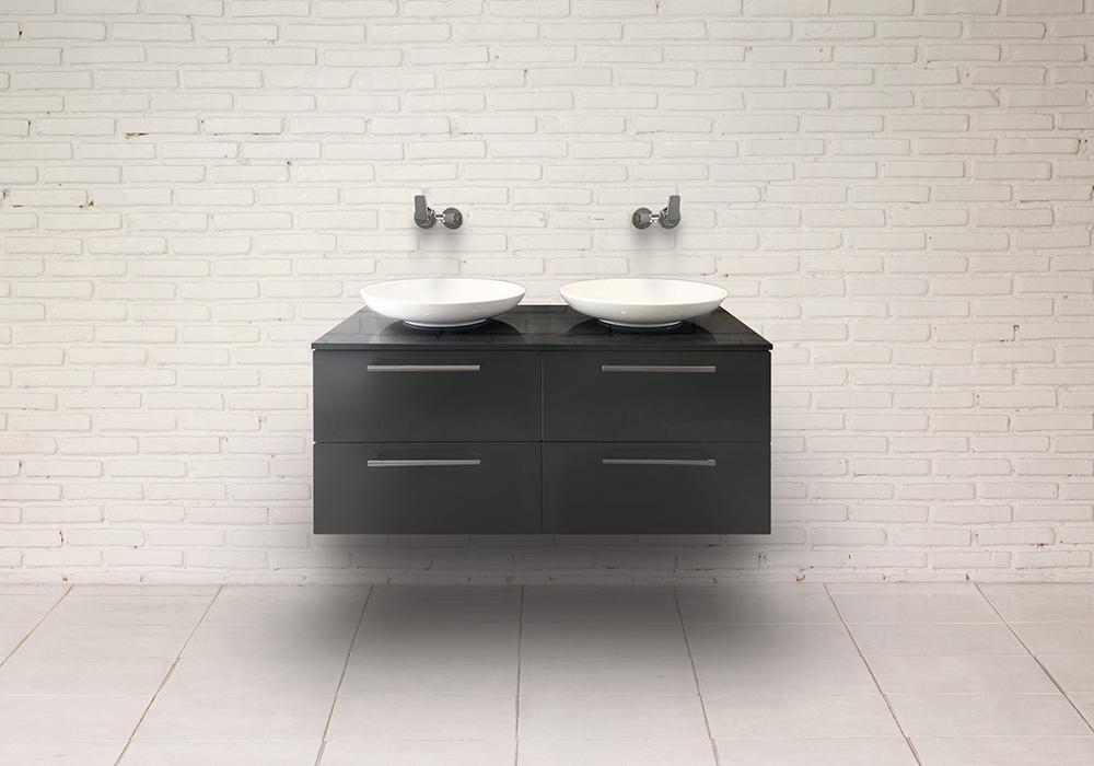Möbel im Bad Waschtischunterschrank Folie Anthrazit mit Doppelwaschtisch